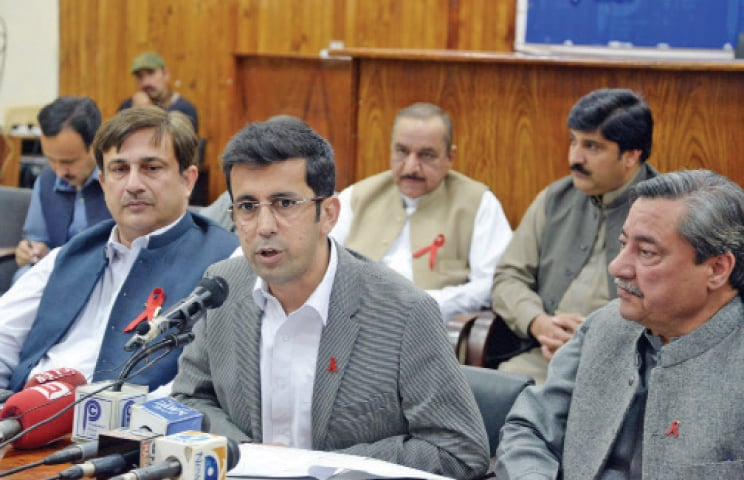 Provincial Health Minister Shahram Tarakai addresses a press conference in Peshawar on Wednesday. — White Star