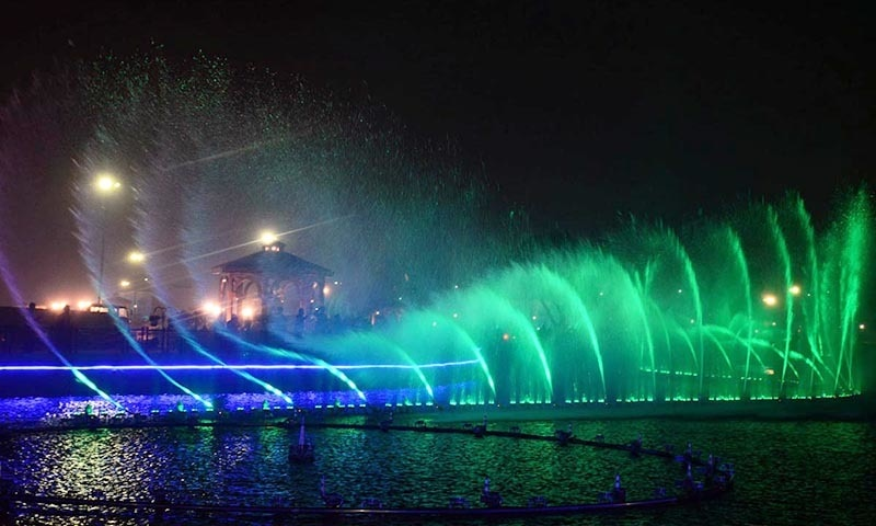 A beautiful view of moving fountains with colour lights at Greater Iqbal Park. —Online