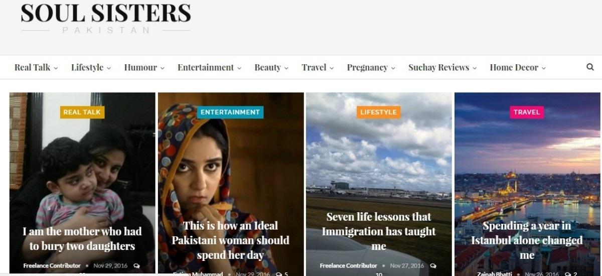 A screenshot of the Soul Sisters blog