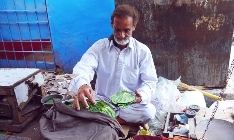 A vendor at Karachi's Paan Mandi.