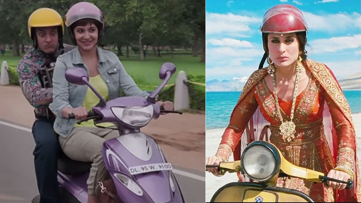 Anushka Sharma in PK and Kareena Kapoor Khan in Three Idiots riding scooters. Screengrabs.