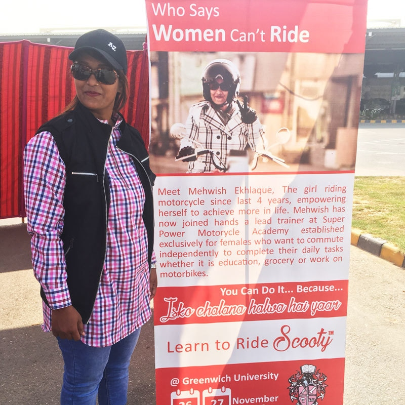 Mehwish Ekhlaque ready to train women on how to ride scooters.
