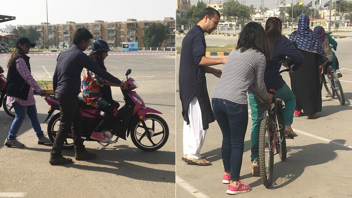 Left: One of the girls trying her luck on the scooter. Right: Participants and their partners help teach the other women while instrustors were occupied teaching others.