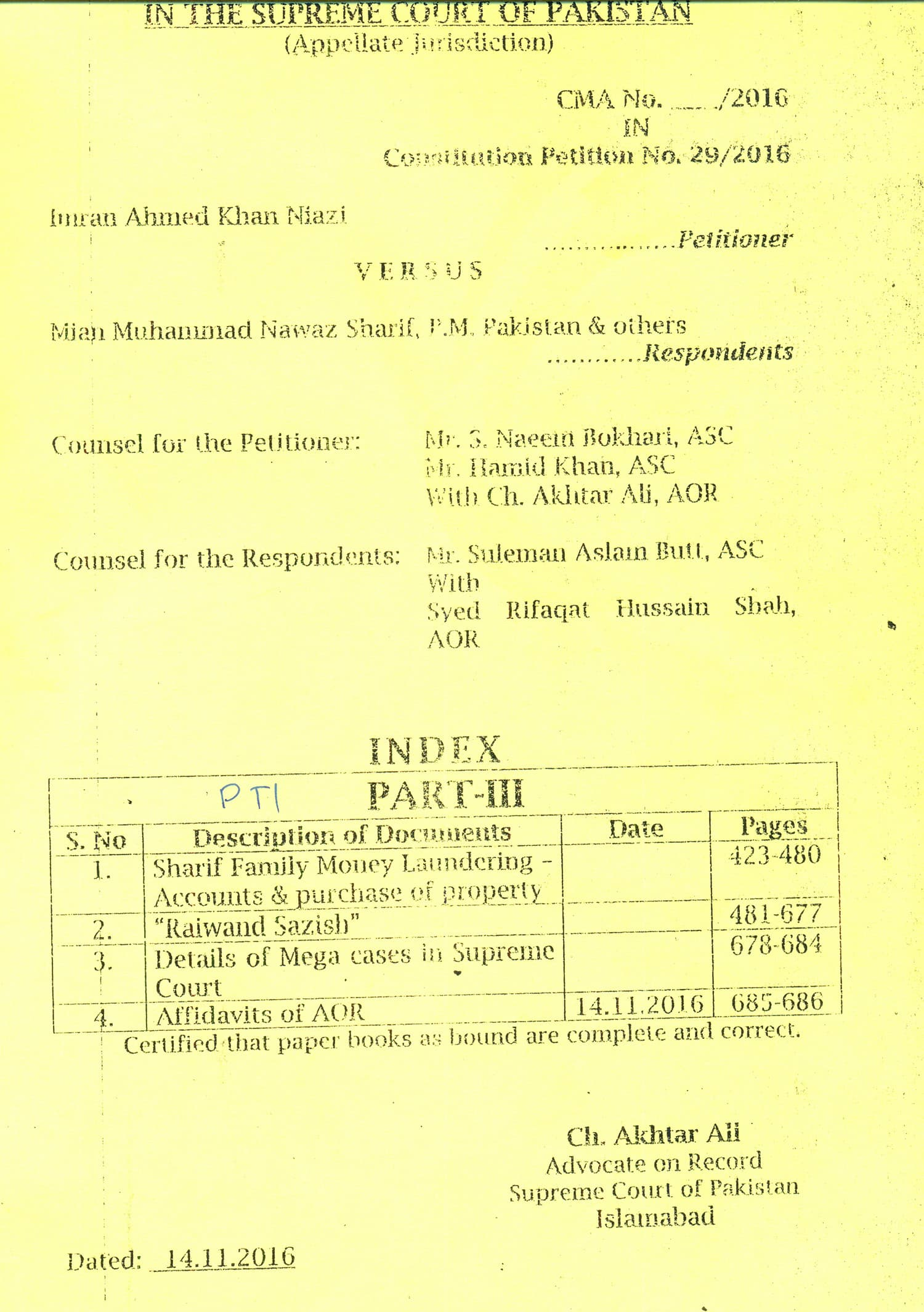 Table of contents shows that 'Raiwind Sazish' stretches from pages 481-677.