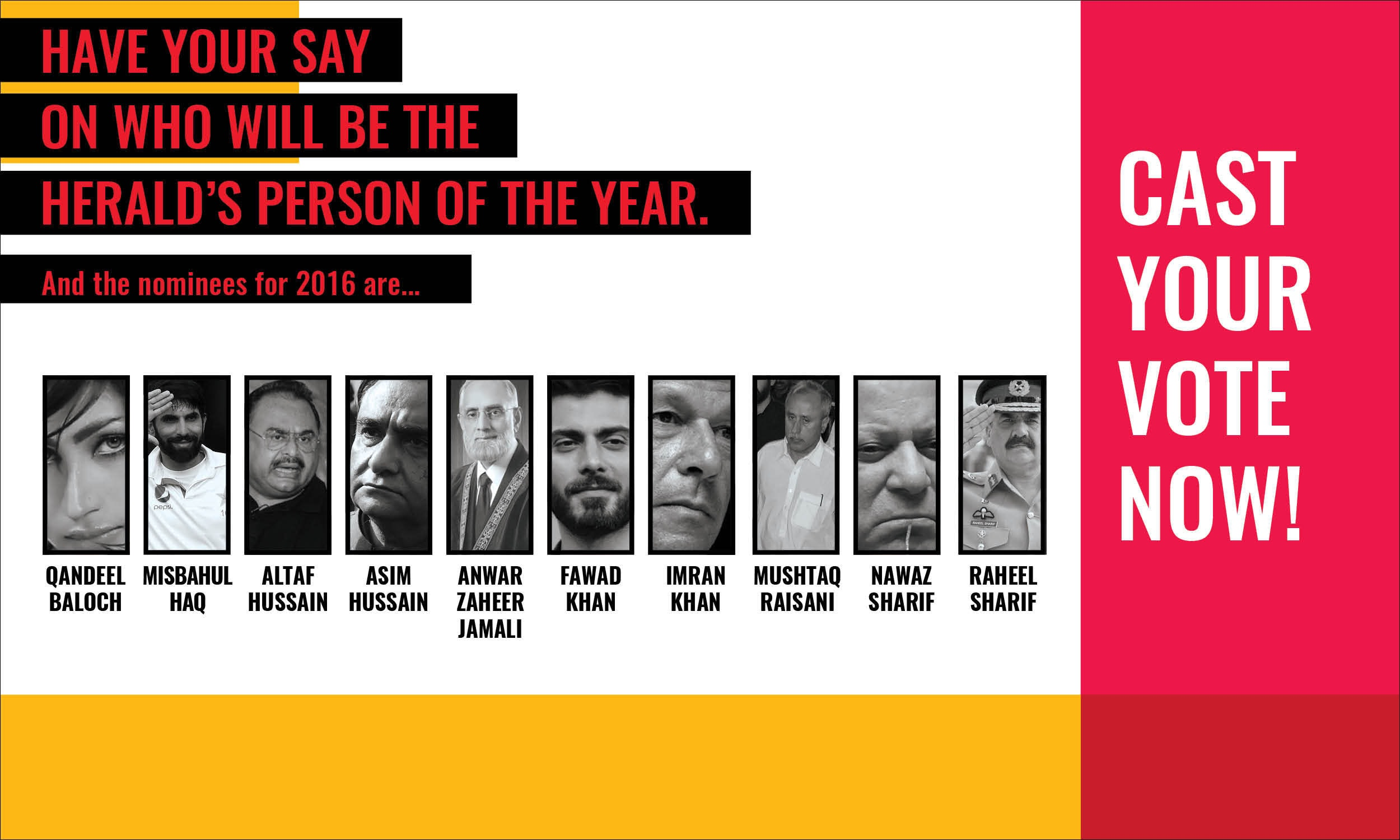 Readers voted for *Herald*'s person of the year through online polling and print ballots