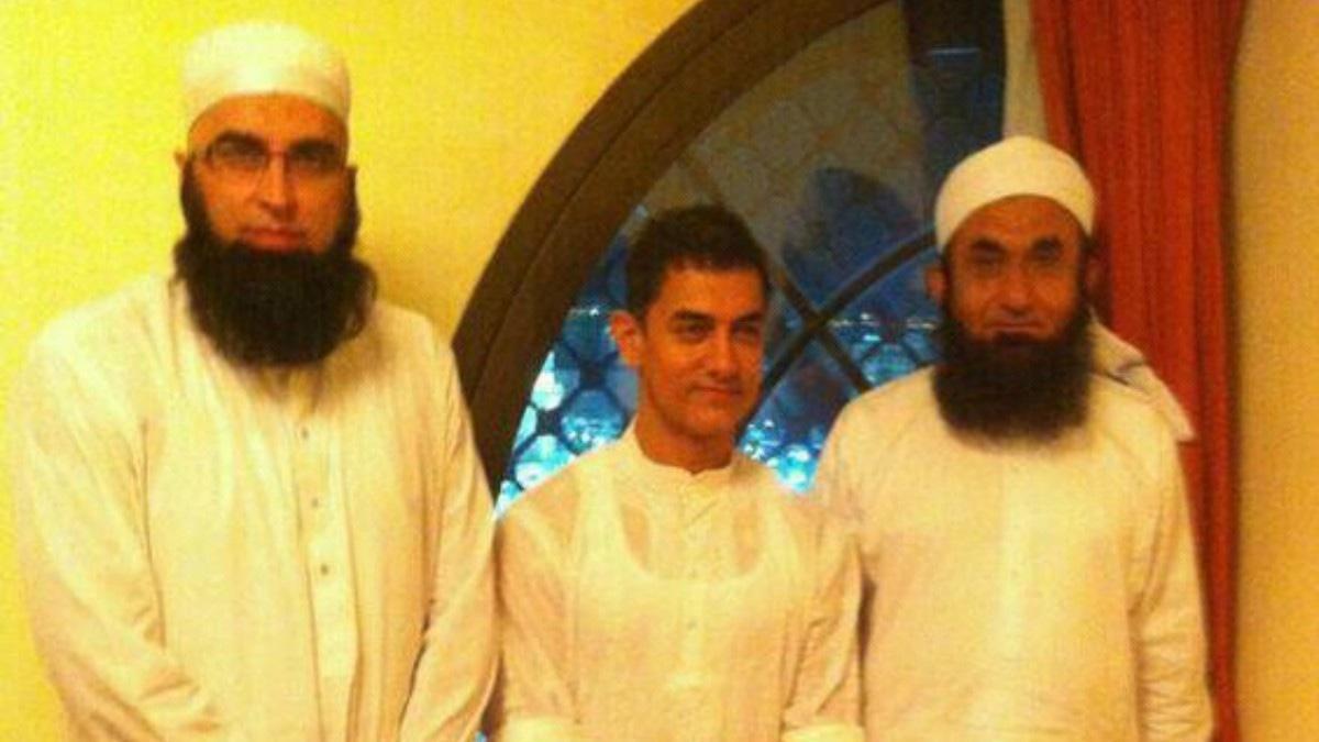Junaid Jamshed with Bollywood actor Aamir Khan and spiritual mentor Tariq Jameel during the 2012 pilgrimage