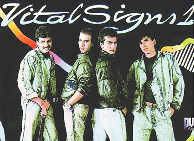 (From left) Salman Ahmad, Rohail Hyatt, Shahi Hasan and Junaid Jamshed on the cover of a Vital Signs album
