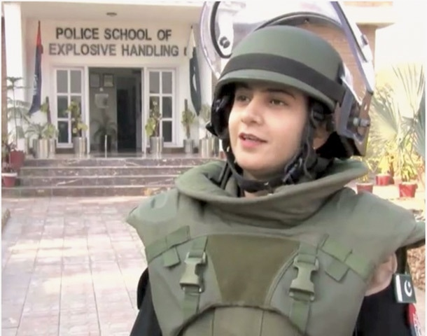 Rafia Baig is the only woman in a clutch of police officials selected for a course centred on handling and defusing explosives.—Dawn