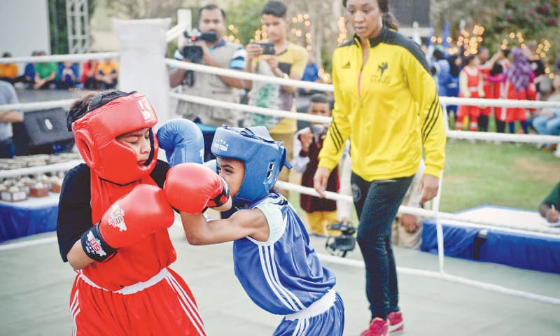 Girls from Lyari's Pak Shaheen Boxing Club and Young Lyari Boxing Club at a training session organised by the Goethe-Institut Pakistan and Alliance Française de Karachi in 2016.—White Star