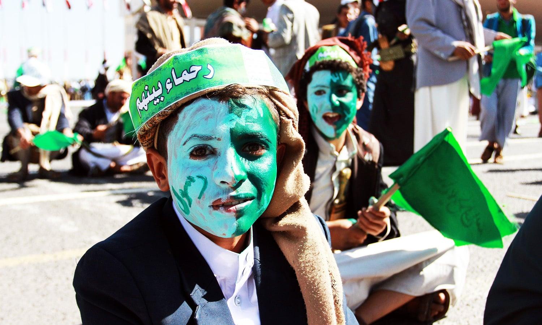 Muslim Yemenis attend a gathering marking the birth anniversary of Prophet Muhammad (PBUH).—AFP