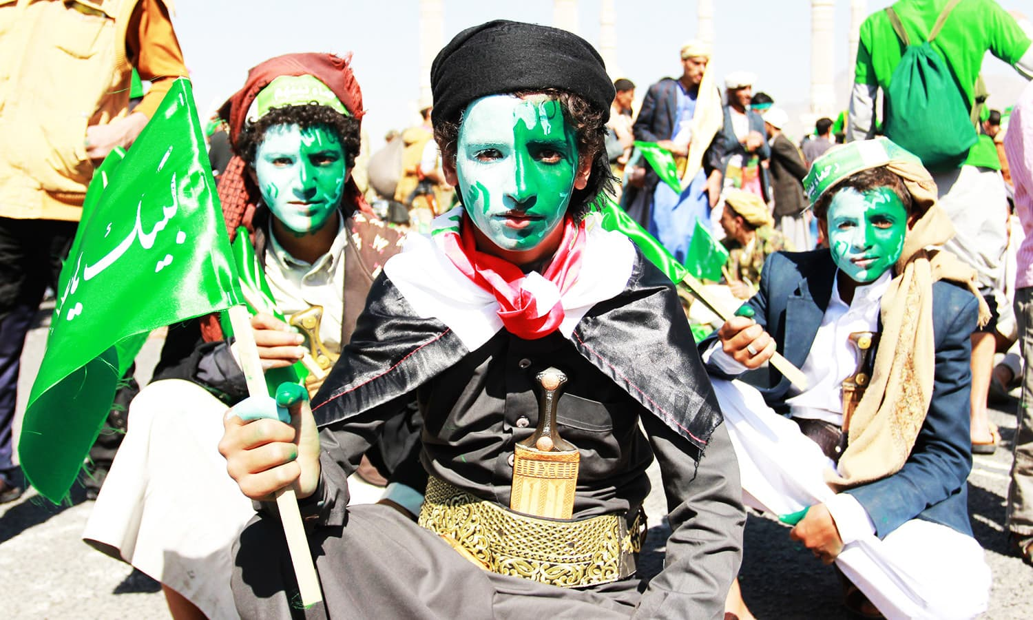 Muslim Yemenis attend a gathering marking the birth anniversary of Prophet Muhammad (PBUH).—AFP