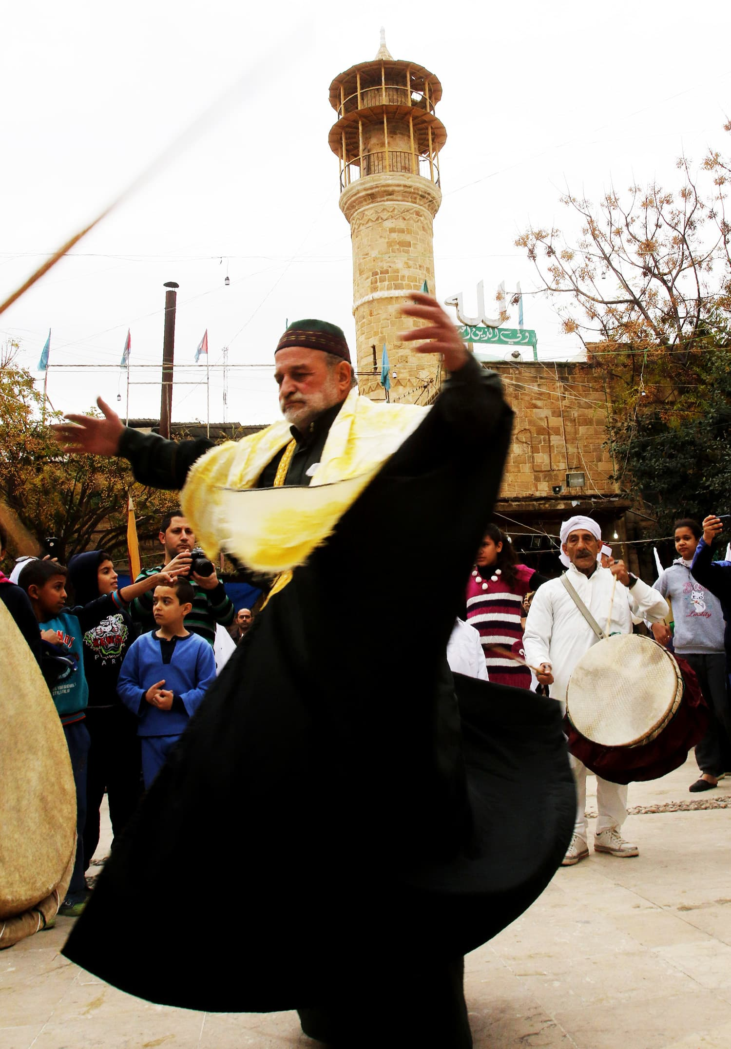 A Lebanese Muslim Sufi man performs a traditional dance during a ritual ceremony.— AFP