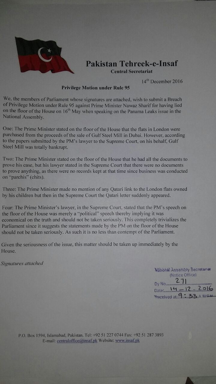 The privilege motion filed by PTI.