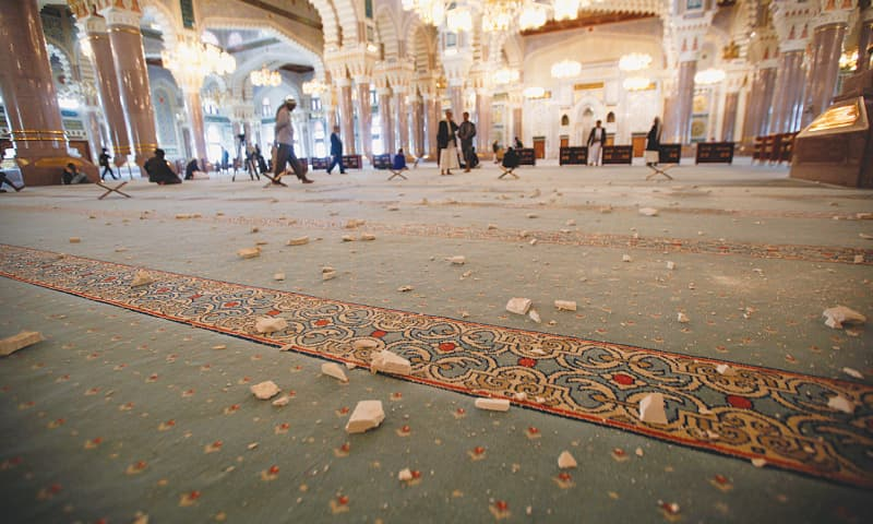 SANAA: The floor of Al-Saleh mosque is littered with debris after a nearby military post was hit by Saudi-led air strikes on Wednesday.—Reuters