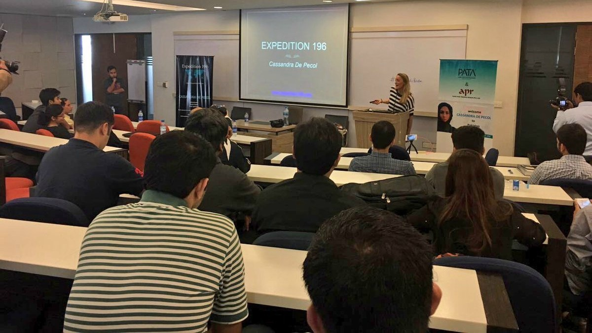 Cassie giving a talk at IBA, Karachi - Photograph by umairica/Twitter