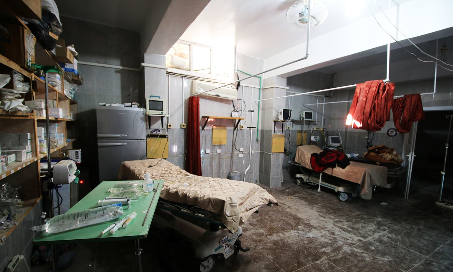An empty room at the damaged field hospital is seen after airstrikes in a rebel held area in Aleppo, Syria on October 1, 2016. ─ Reuters