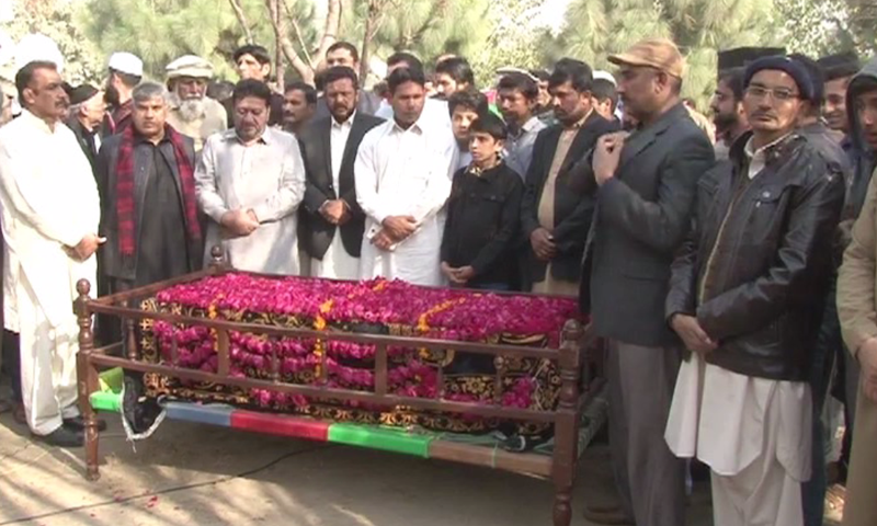 Nayha Jamshed's funeral prayers in Lahore. ─ DawnNews