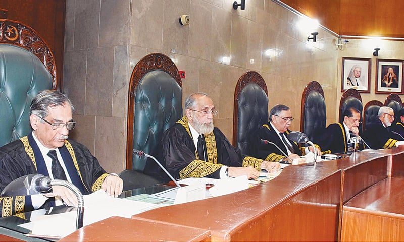 ISLAMABAD: Chief Justice Anwar Zaheer Jamali, who is due to retire on Dec 30, presides over a full court reference at the Supreme Court on Thursday.—White Star