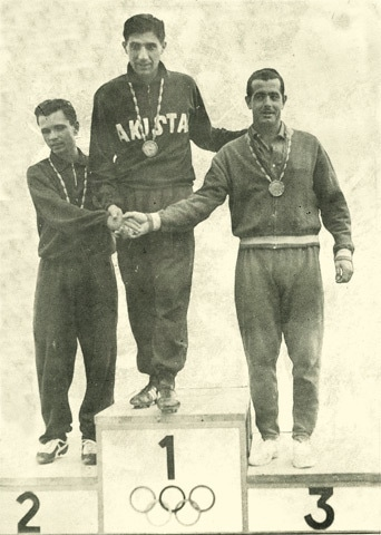 Hameedi at the top of the podium in the 1960 Olympics