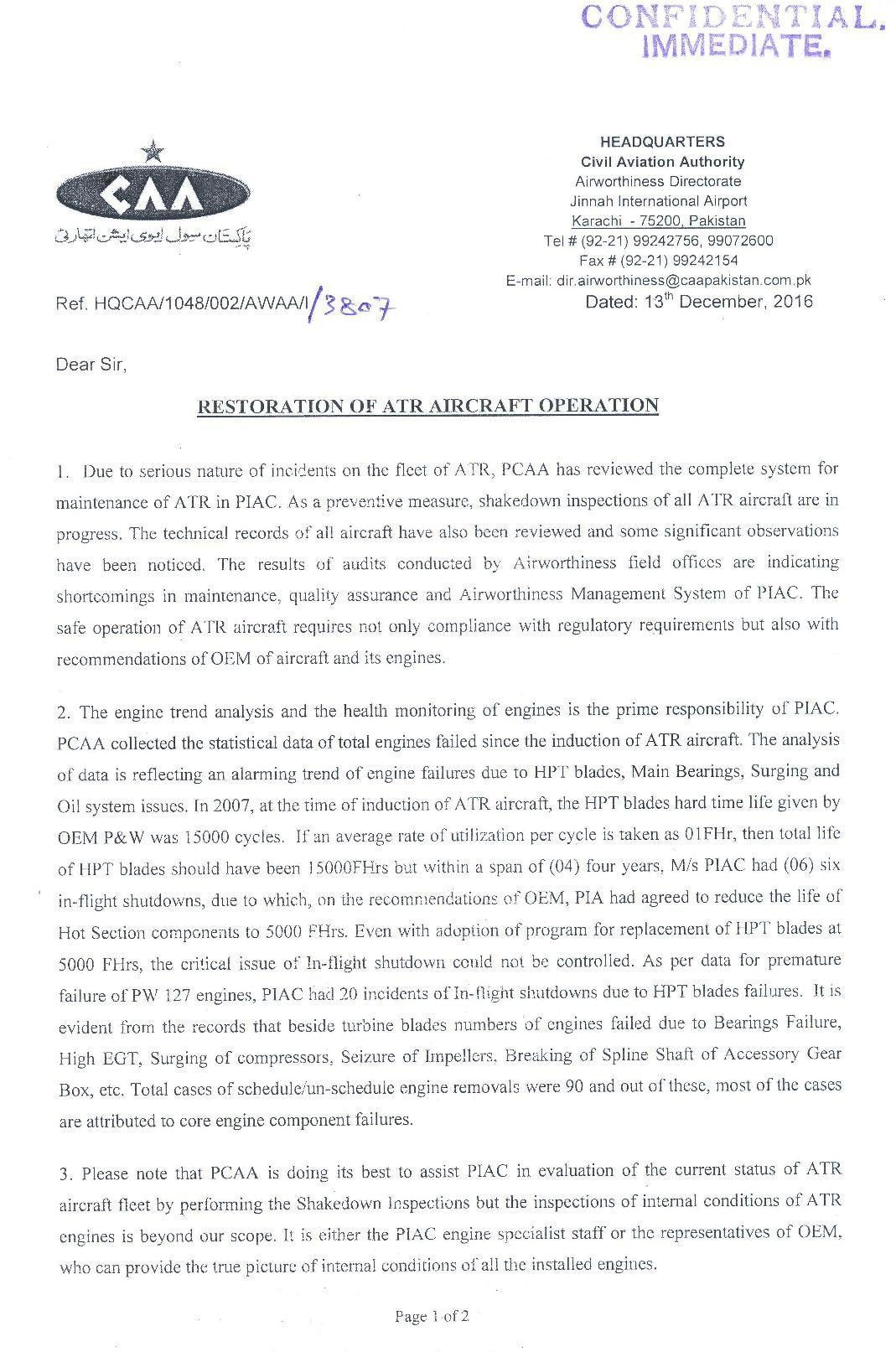 CAA letter