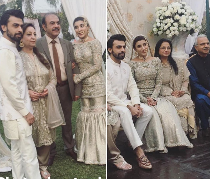 Left: The couple with Farhan's parents, right: The newly weds with Urwa's parents. Photo: divamagazine/Instagram