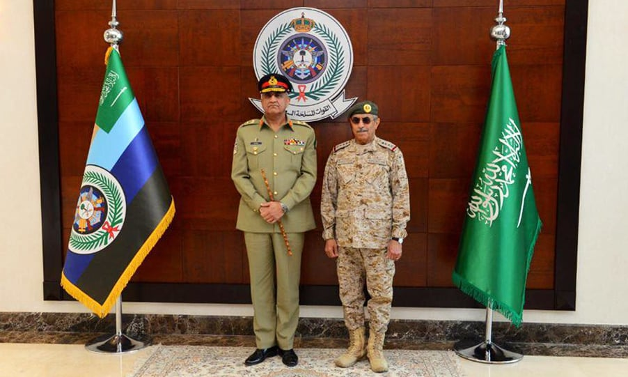 General Bajwa met Chief of General Staff of Saudi Forces Gen Abdul Rehman bin Saleh Al Bunyan. —Photo courtesy ISPR