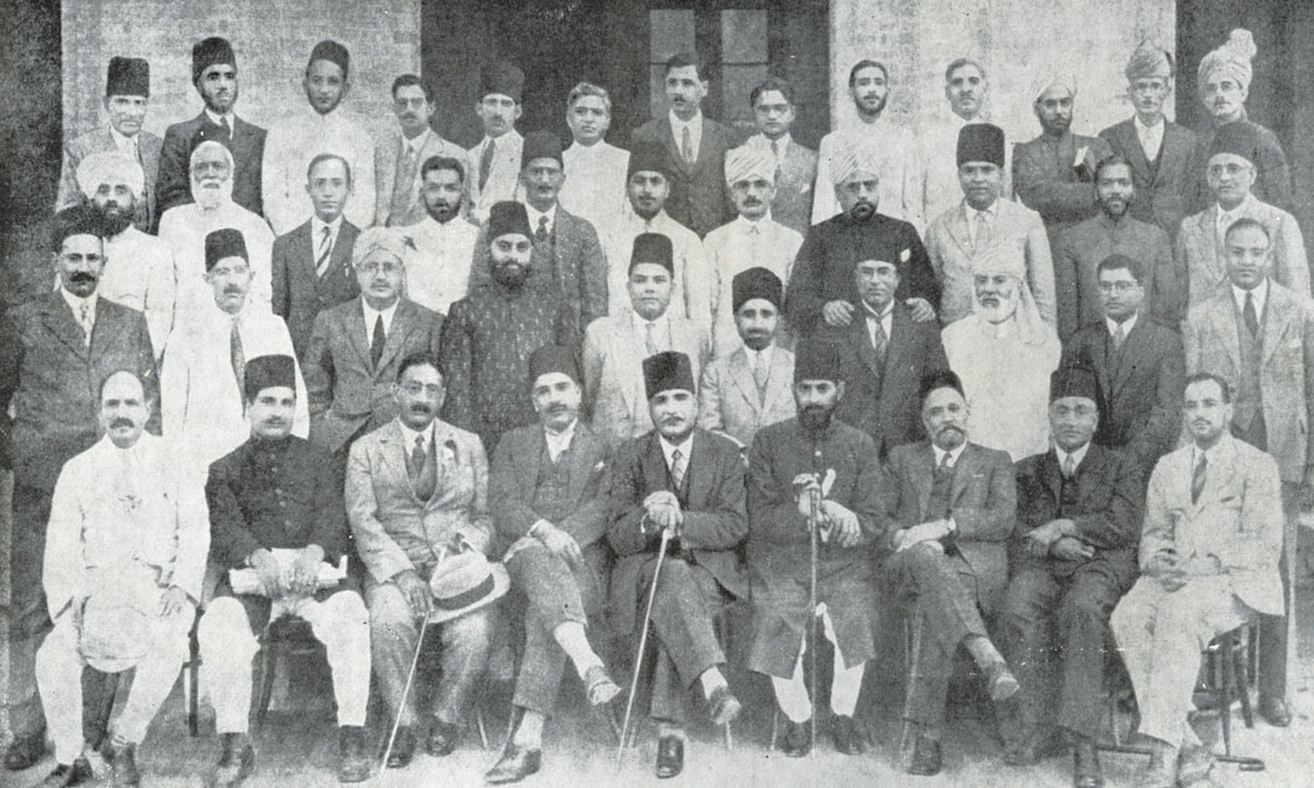 Allama Iqbal (centre, bottom row) with members of the Circle of Islamic Studies in Lahore, 1933 . Courtesy of The Herald/Iqbal in Pictures