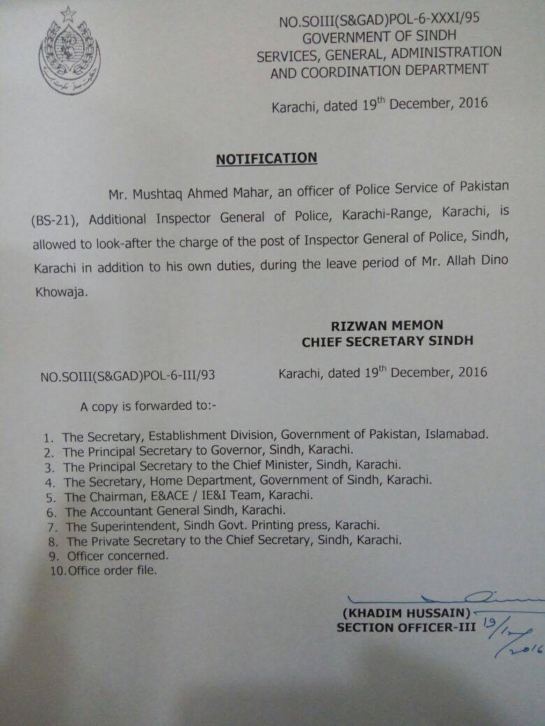 AIG Mushtaq Meher given additional charge.