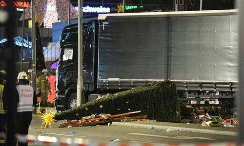 A truck crashed into a Christmas market in Berlin on Tuesday. — AFP