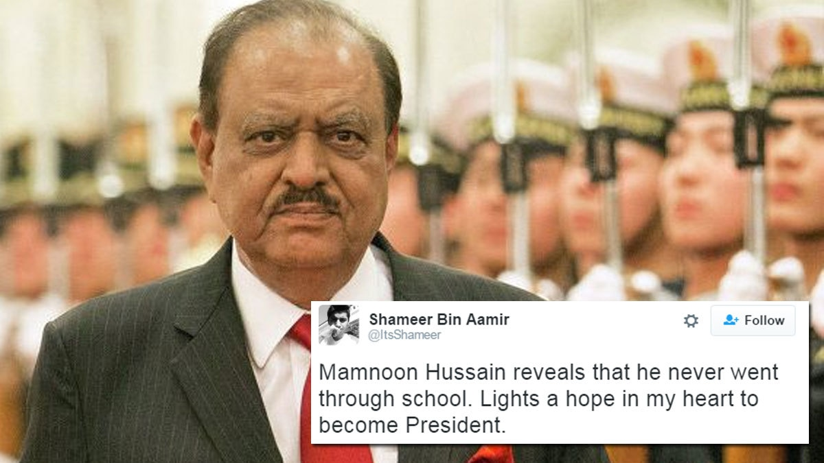 Twitter is so confused after President Mamnoon Hussain revealed he 'never went to school'