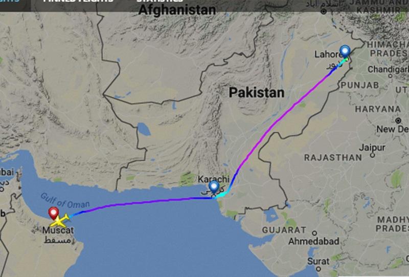 PK-307 flight map. Courtesy: FlightRadar24
