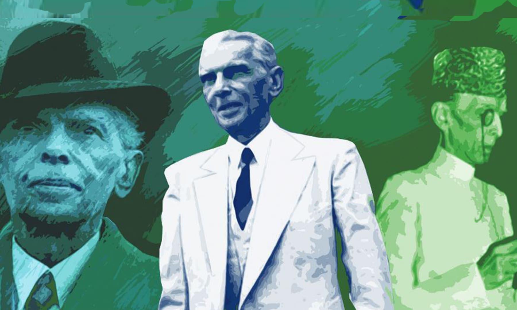 ضیا کی آمریت کے دوران (1977 سے 1988 تک) قائد اعظم کو کبھی بھی سوٹ میں نہیں دکھایا گیا تھا — خاکہ خدا بخش ابڑو
