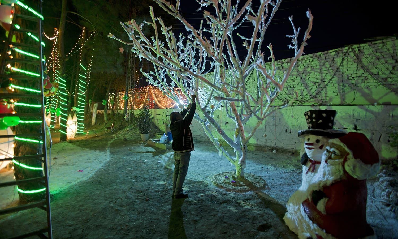 کرسمس کے موقع پر گھر کی دیواروں کے ساتھ ساتھ درختوں کو بھی خاص طور پر سجایا جاتا ہے —فوٹو / اے پی