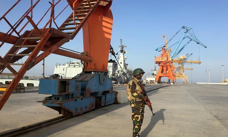 GWADAR: A soldier stands guard at the port in this file photo.— Reuters/File