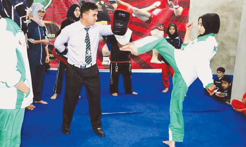 A Hazara girl practising Wushu Karate at Lions Hearts Academy.