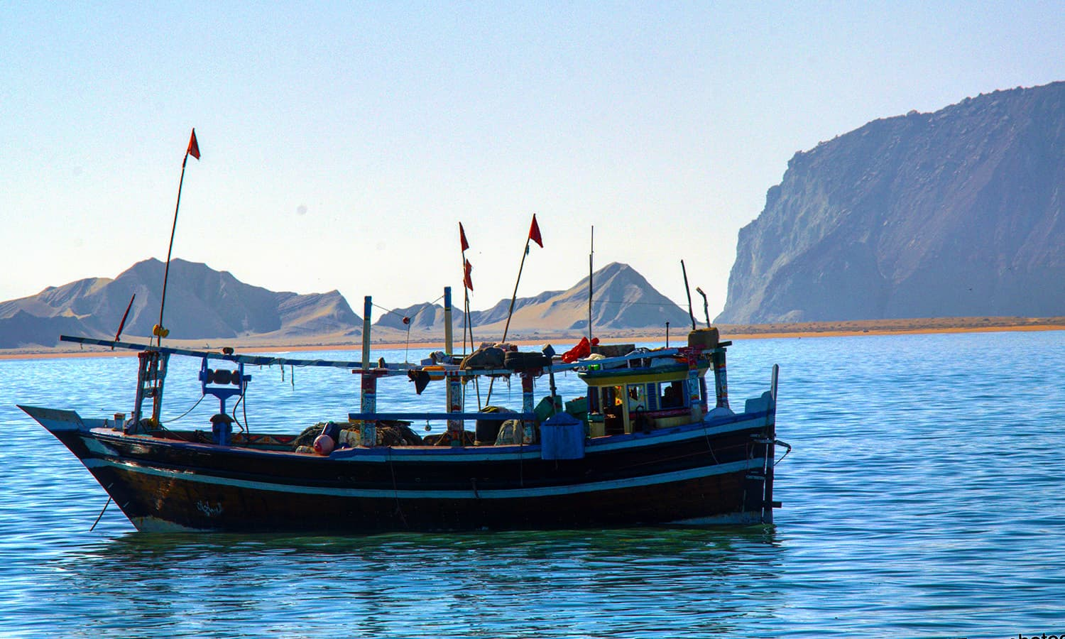One of the boats of campers visiting Astola island.