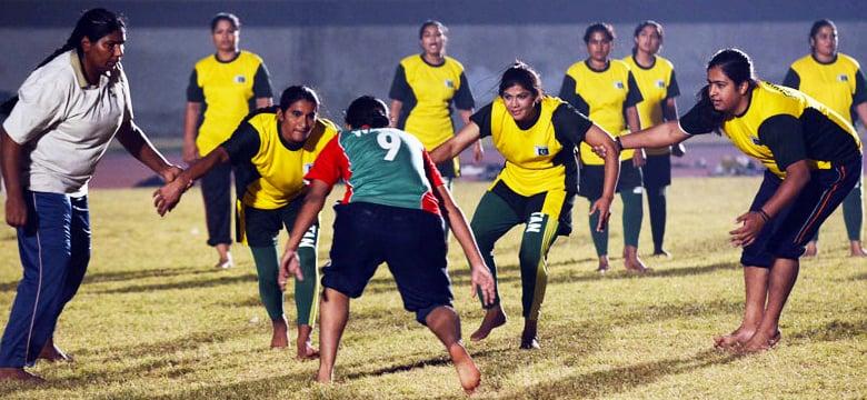 Pakistan women's kabaddi team practicing. — AFP