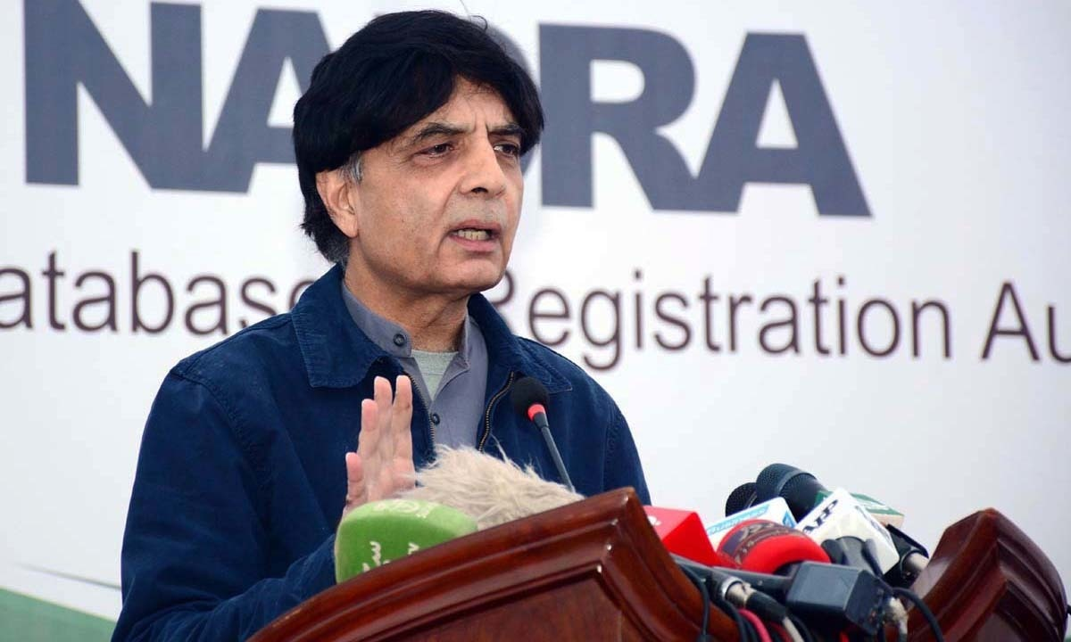 Interior Minister Nisar Ali Khan talking to media at Nadra Headquarters. —APP