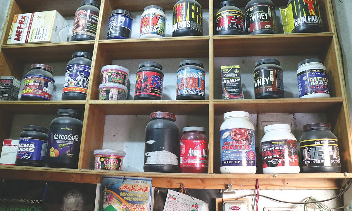 Supplements on display at Ibrahim Khan's shop. Credit: Umer Ali