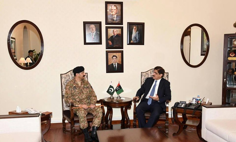 CM Murad met Corps Commander Karachi Lt Gen Shahid Baig — DawnNews