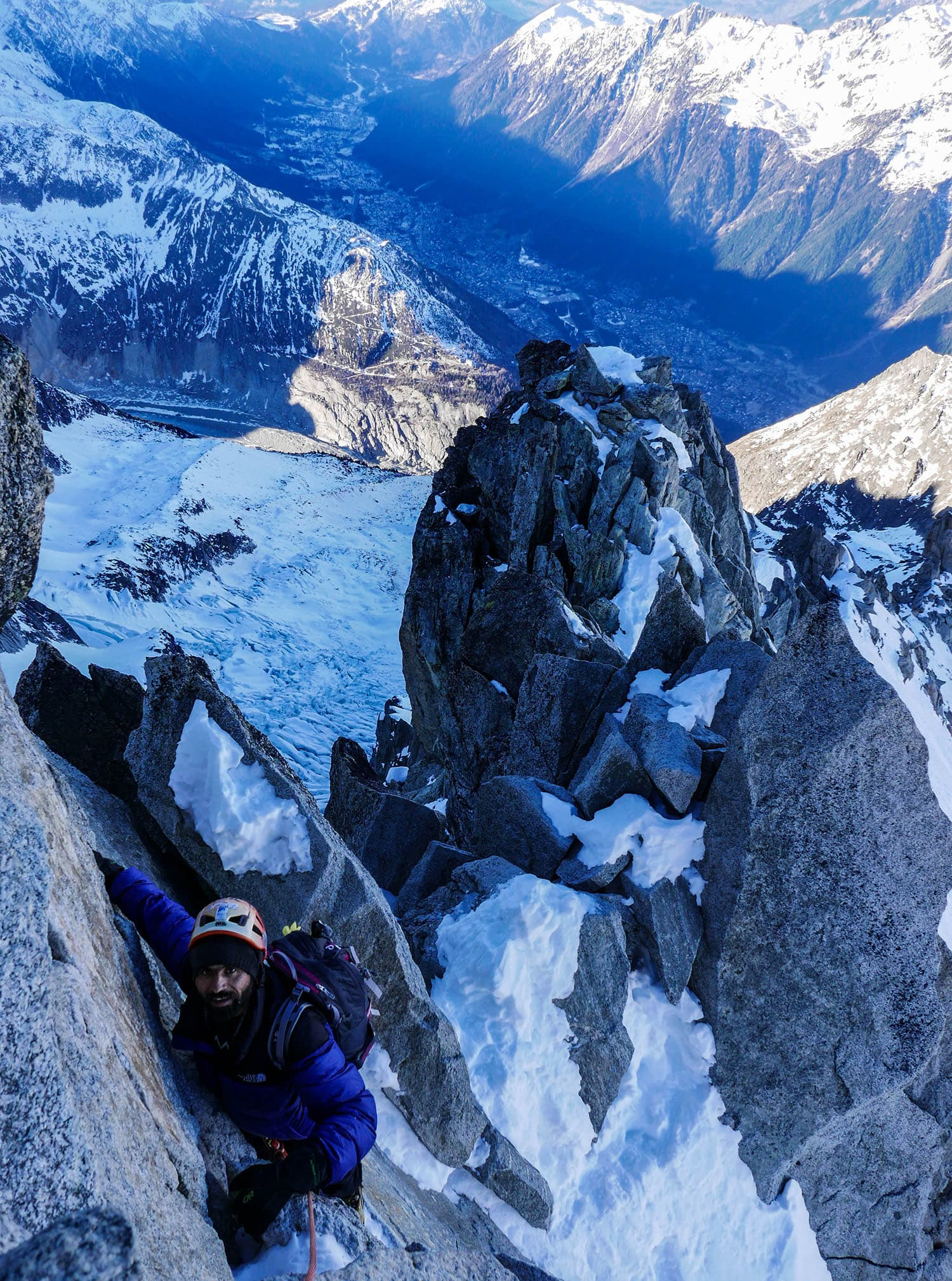 The climb to the Petite Aiguille Verte summit not only involved snow, but rock and ice as well.