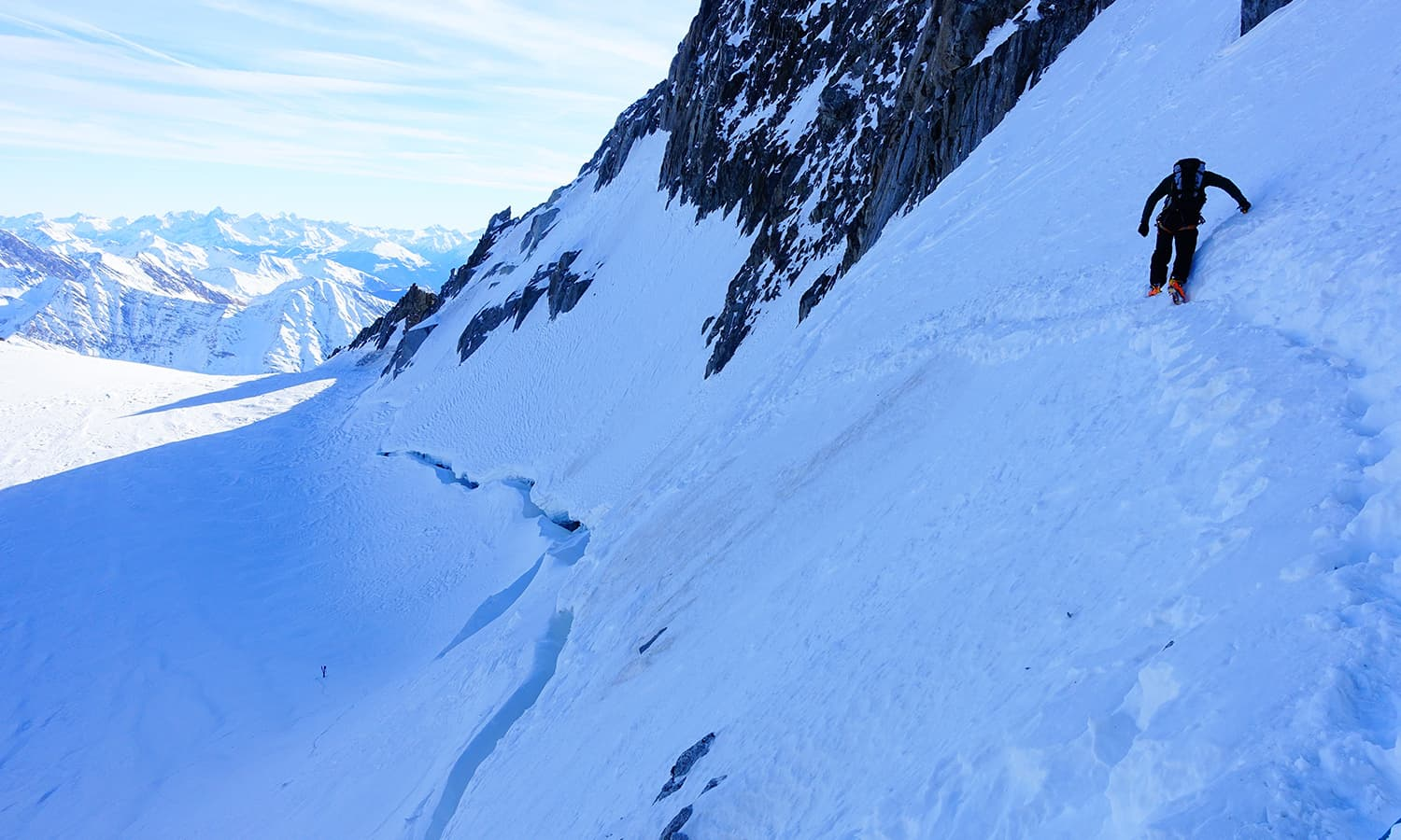 This is where I encountered a crevasse.