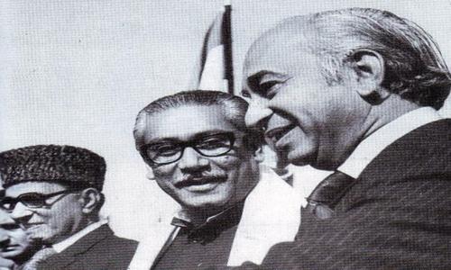 ذوالفقار علی بھٹو شیخ مجیب الرحمان کے ساتھ موجود ہیں