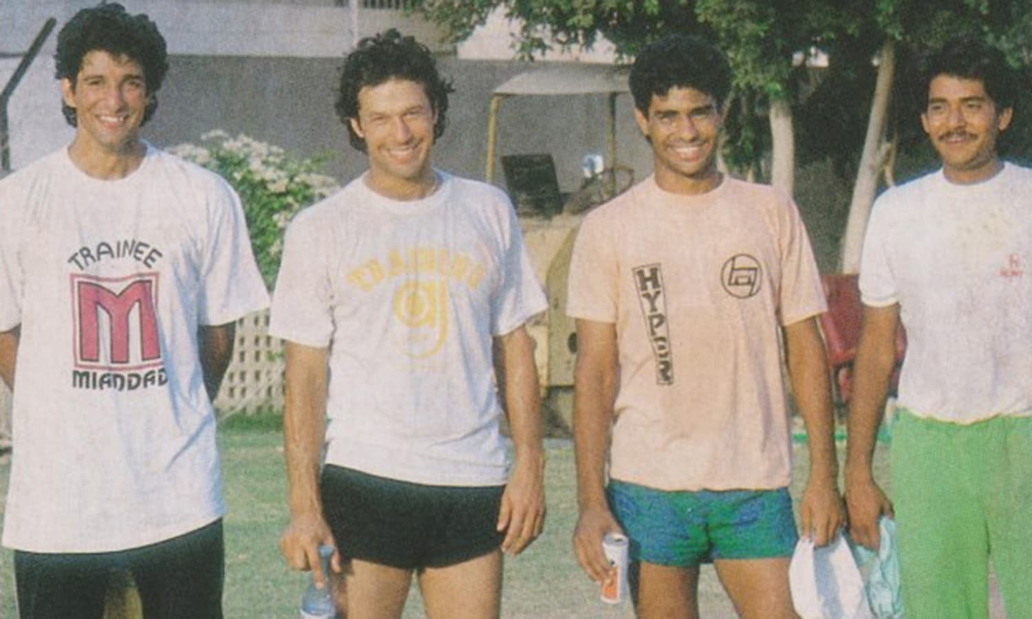 Khan with his three fast-bowling protégés: Wasim Akram, Waqar Younis and Aaqib Javed (1989).