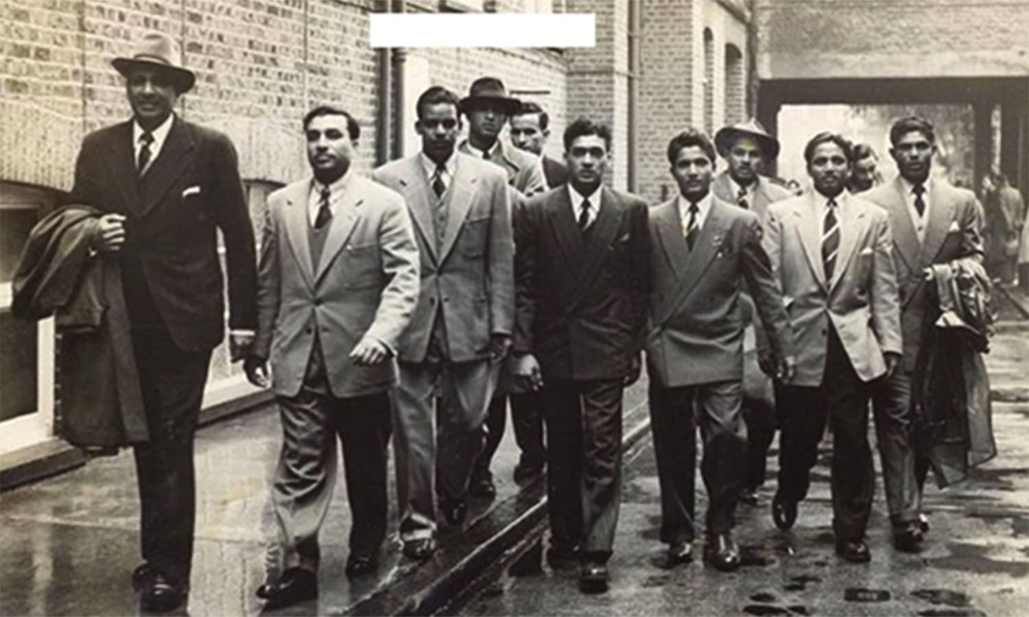 The Pakistan squad in London during the team's first ever tour of England in 1954.