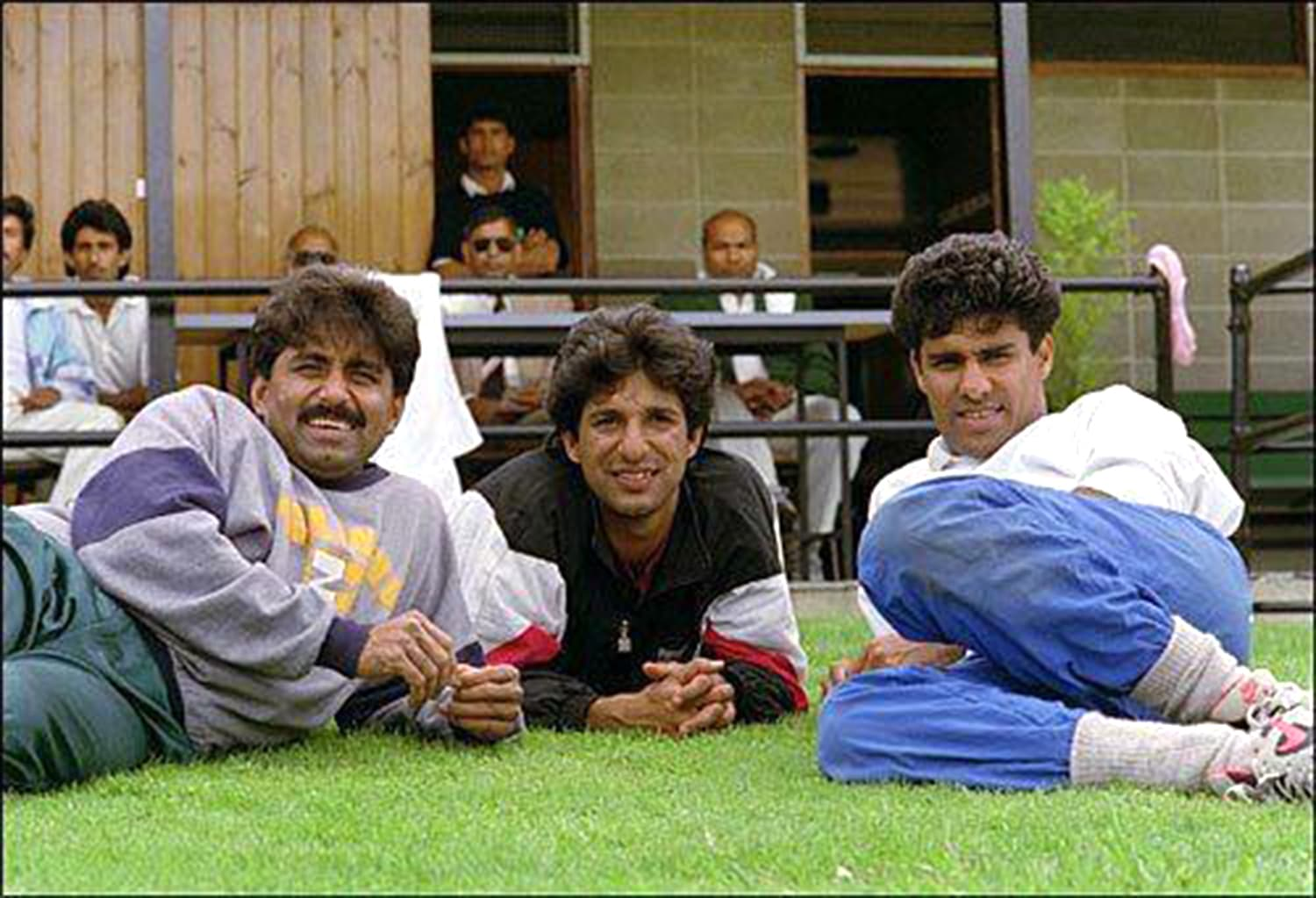 Miandad with Wasim Akram and Waqar Younus.
