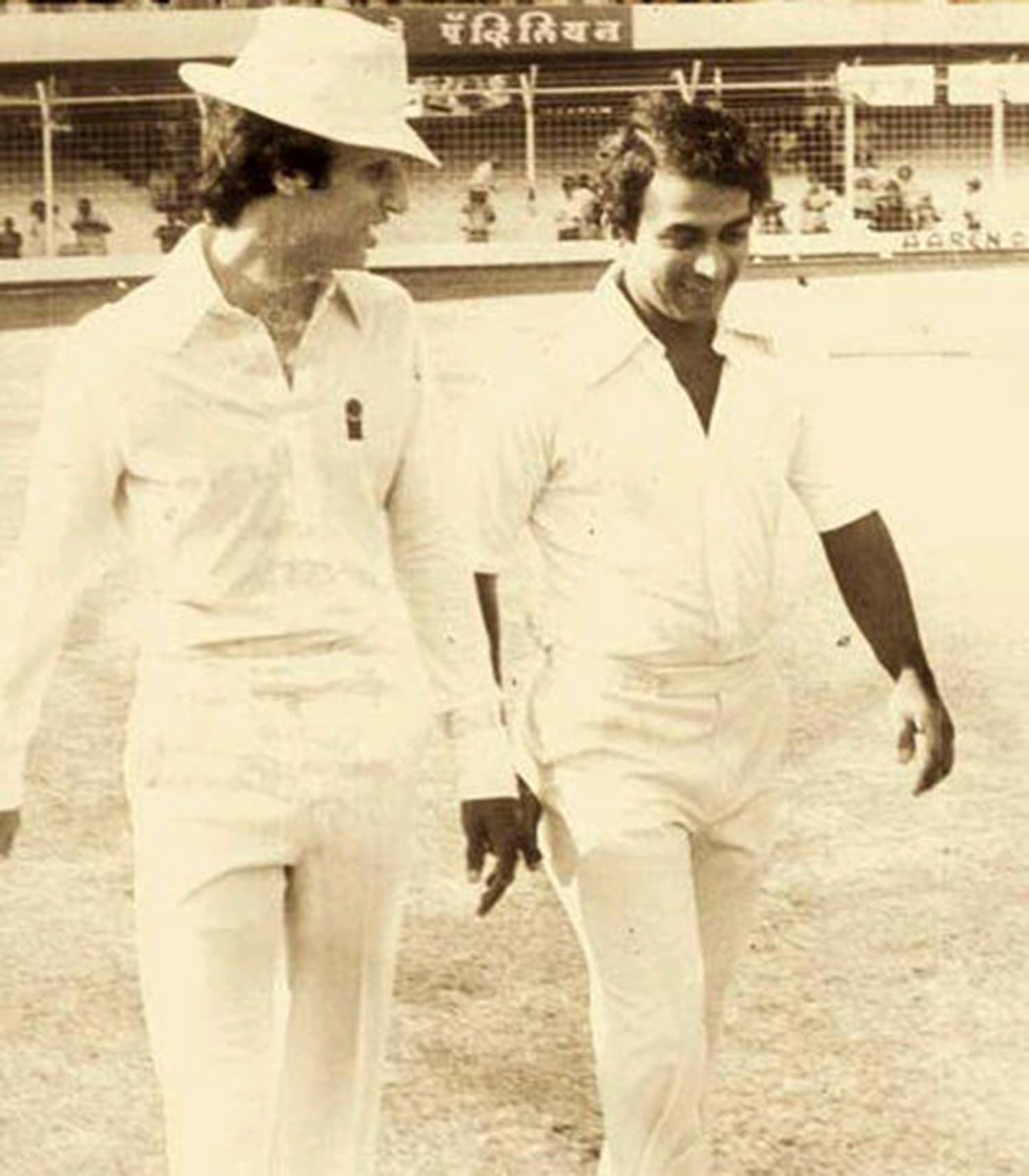 Asif with Indian captain Sunil Gavaskar, walks out for the toss in the last Test of the 1979 India-Pakistan series.
