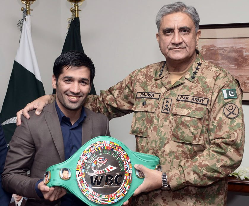 Army chief expresses confidence that youth will follow Waseem's footsteps to bring good name to the country. —Photo: ISPR