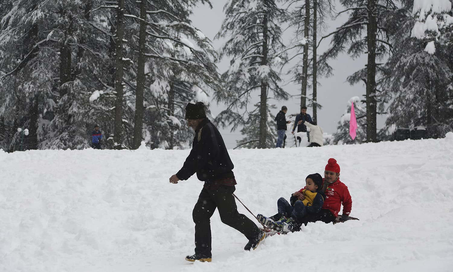 A man pulls a tourist on a sledge through snow at Patnitop in Udhampur district of Jammu and Kashmir state.─AP