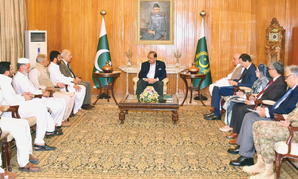 President Mamnoon Hussain in a  meeting with a delegation from Fata in Islamabad  |White Star